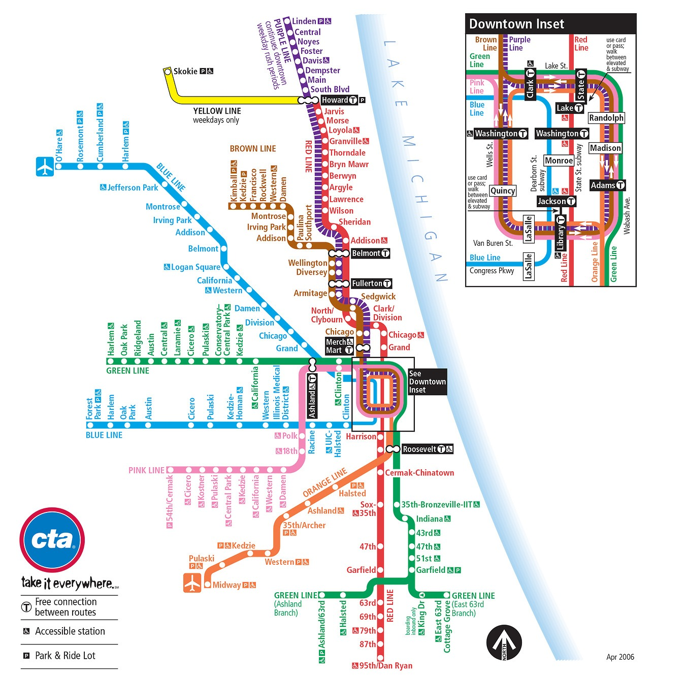 CTA Map  Chicago Transit Guide - Chicago map of trains