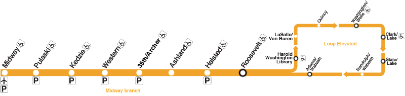 Orange Line Map Chicago Orange Line – CTA and Metra Guide