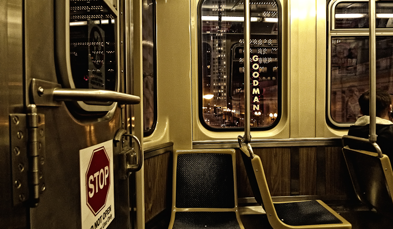CTA train at night