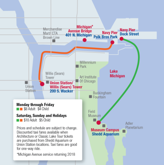 Chicago Water Taxi Route Map